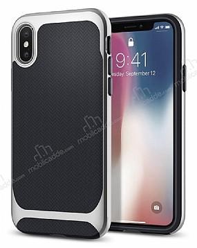 Eiroo Efficient iPhone X Silver Kenarlı Ultra Koruma Kılıf