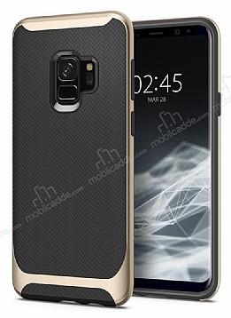 Eiroo Efficient Samsung Galaxy S9 Gold Kenarlı Ultra Koruma Kılıf