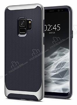 Eiroo Efficient Samsung Galaxy S9 Silver Kenarlı Ultra Koruma Kılıf