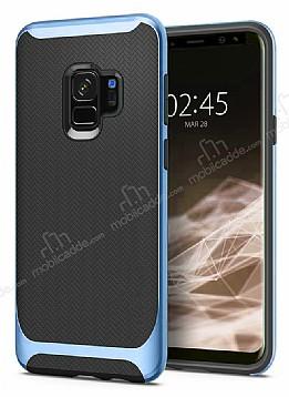 Eiroo Efficient Samsung Galaxy S9 Mavi Kenarlı Ultra Koruma Kılıf