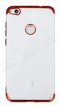 Eiroo Frosty Huawei P9 Lite 2017 Kırmızı Kenarlı Silikon Kılıf