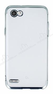 Eiroo Frosty LG Q6 Silver Kenarlı Silikon Kılıf