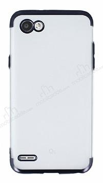 Eiroo Frosty LG Q6 Siyah Kenarlı Silikon Kılıf