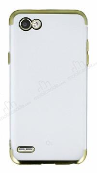 Eiroo Frosty LG Q6 Gold Kenarlı Silikon Kılıf