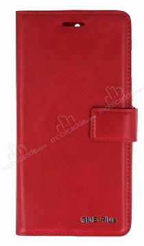 Eiroo General Mobile GM 5 Plus Cüzdanlı Yan Kapaklı Kırmızı Deri Kılıf