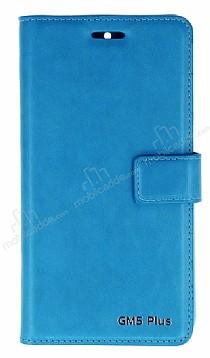 Eiroo General Mobile GM 5 Plus Cüzdanlı Yan Kapaklı Mavi Deri Kılıf