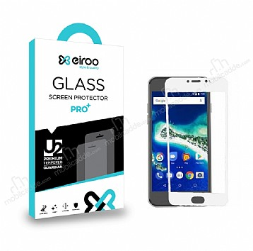 Eiroo General Mobile GM6 Curve Tempered Glass Full Beyaz Cam Ekran Koruyucu