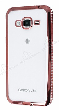 Eiroo Samsung Galaxy J3 2016 Rose Gold Taşlı Kenarlı Şeffaf Silikon Kılıf