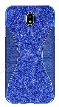 Eiroo Glint Samsung Galaxy J7 Pro 2017 Simli Lacivert Silikon Kılıf