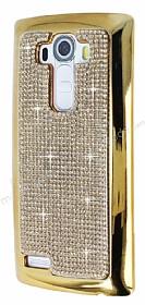 Eiroo Glows LG G4 Taşlı Gold Rubber Kılıf