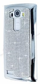 Eiroo Glows LG G4 Taşlı Silver Rubber Kılıf