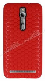 Eiroo Honeycomb Asus Zenfone 2 Kırmızı Silikon Kılıf