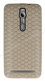 Eiroo Honeycomb Asus Zenfone 2 Krem Silikon Kılıf