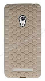 Eiroo Honeycomb Asus Zenfone 5 Krem Silikon Kılıf