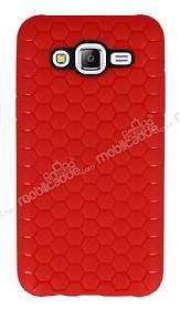 Eiroo Honeycomb Samsung Galaxy J5 Kırmızı Silikon Kılıf