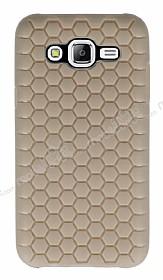 Eiroo Honeycomb Samsung Galaxy J5 Krem Silikon Kılıf