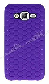 Eiroo Honeycomb Samsung Galaxy J7 Mor Silikon Kılıf