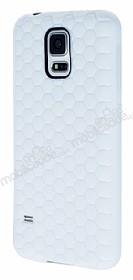 Eiroo Honeycomb Samsung Galaxy S5 Beyaz Silikon Kılıf