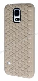 Eiroo Honeycomb Samsung Galaxy S5 Krem Silikon Kılıf