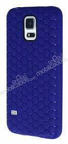 Eiroo Honeycomb Samsung Galaxy S5 Lacivert Silikon Kılıf