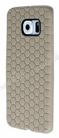 Eiroo Honeycomb Samsung Galaxy S6 edge Krem Silikon Kılıf
