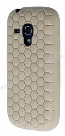 Eiroo Honeycomb Samsung i8190 Galaxy S3 Mini Krem Silikon Kılıf
