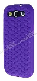Eiroo Honeycomb Samsung i9300 Galaxy S3 Mor Silikon Kılıf