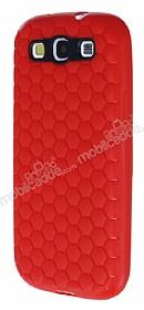Eiroo Honeycomb Samsung i9300 Galaxy S3 Kırmızı Silikon Kılıf