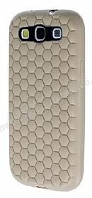Eiroo Honeycomb Samsung i9300 Galaxy S3 Krem Silikon Kılıf