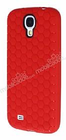 Eiroo Honeycomb Samsung i9500 Galaxy S4 Kırmızı Silikon Kılıf