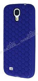 Eiroo Honeycomb Samsung i9500 Galaxy S4 Lacivert Silikon Kılıf