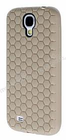 Eiroo Honeycomb Samsung i9500 Galaxy S4 Krem Silikon Kılıf