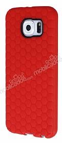 Eiroo Honeycomb Samsung i9800 Galaxy S6 Kırmızı Silikon Kılıf