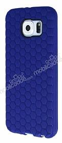 Eiroo Honeycomb Samsung i9800 Galaxy S6 Lacivert Silikon Kılıf