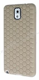 Eiroo Honeycomb Samsung N9000 Galaxy Note 3 Krem Silikon Kılıf