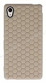 Eiroo Honeycomb Sony Xperia M4 Aqua Krem Silikon Kılıf