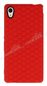 Eiroo Honeycomb Sony Xperia M4 Aqua Kırmızı Silikon Kılıf