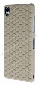 Eiroo Honeycomb Sony Xperia Z3 Krem Silikon Kılıf