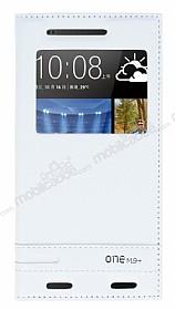 HTC One M9 Plus Gizli Mıknatıslı Pencereli Beyaz Deri Kılıf