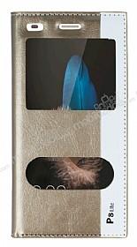 Huawei P8 Lite Gizli Mıknatıslı Çift Pencereli Gold Deri Kılıf