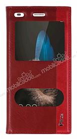 Huawei P8 Lite Gizli Mıknatıslı Çift Pencereli Kırmızı Deri Kılıf