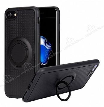 Eiroo Infinity Ring iPhone 7 / 8 Selfie Yüzüklü Siyah Silikon Kılıf