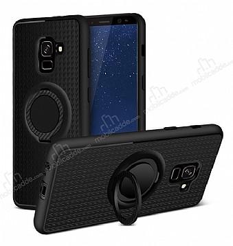 Eiroo Infinity Ring Samsung Galaxy A8 Plus 2018 Selfie Yüzüklü Siyah Silikon Kılıf
