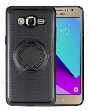 Eiroo Infinity Ring Samsung Galaxy J5 2016 Selfie Yüzüklü Siyah Silikon Kılıf