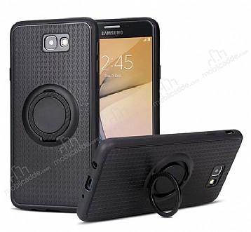 Eiroo Infinity Ring Samsung Galaxy J7 Prime Selfie Yüzüklü Siyah Silikon Kılıf