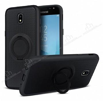 Eiroo Infinity Ring Samsung Galaxy J7 Pro 2017 Selfie Yüzüklü Siyah Silikon Kılıf