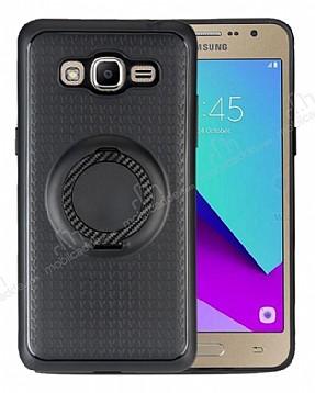 Eiroo Infinity Ring Samsung Galaxy J7 Selfie Yüzüklü Siyah Silikon Kılıf
