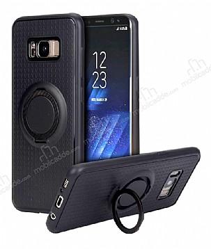 Eiroo Infinity Ring Samsung Galaxy S8 Plus Selfie Yüzüklü Siyah Silikon Kılıf