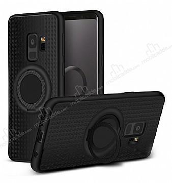 Eiroo Infinity Ring Samsung Galaxy S9 Selfie Yüzüklü Siyah Silikon Kılıf
