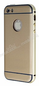 Eiroo iPhone SE / 5 / 5S Metal Kenarl� Gold Rubber K�l�f